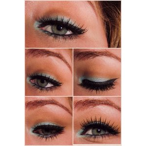 Pretty aqua summer eye look with wispy lashes 😊 light wash of brown and orange in the crease along with a teal around the eye. Would look great with pinky peach lip and maybe some glitter on the inner corners around the tear duct 🙊