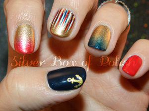 A manicure in red, blue, gold, and white.