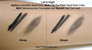 Side by side comparison of 2 popular eye makeup removers. Details here: http://prettygossip.com/2012/02/28/eye-make-up-remover-almay-vs-simple/