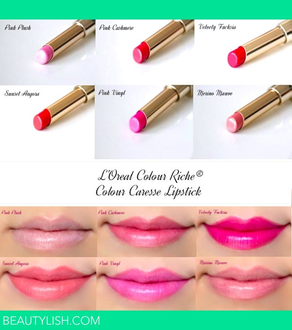 Loreal Colour Caresse By Colour Riche Lipstick Swatches Marlin U