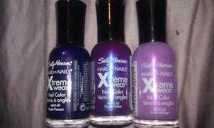 These are the Polishes I used to create My Purple Galaxy. #490 Purple Pizzazz #26   Purple Potion #445 Violet Voltage and the Glitter I used is also Sally Hansen called Solid Gold