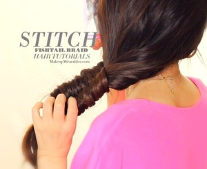 "See the tutorial video here |   http://www.makeupwearables.com/2013/10/fishtail-braids-hairstyles-tutorial.html   How to do a ""Stitch"" fishtail braid tutorial video.  This braid looks bigger and more voluminous than a normal fishtail braid."