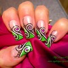 Abstract Green swirl nails