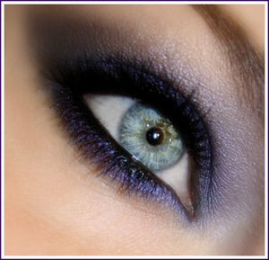 Purple Smoke |  a dark sooty black topped with a prismatic purple. All black products are Urband Decay (24/7 liner in Zero, Shadow is Black Dog from the Black Palette, Primer Potion- Eden) the purple is by Sally Girl (bought at Sally Beauty Supply)