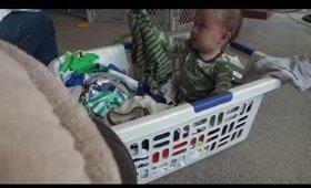 Rowan helps me with laundry!
