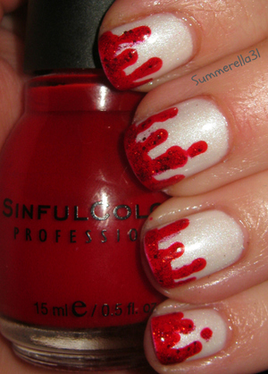 Blood drip nails: Orly Au Champagne, Sinful Colors Ruby, Ruby, and China Glaze Ring In the Red