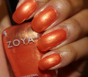 This was two or three coats of Zoya Elise. The gorgeous shimmery orange.