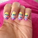 Rainbow dotty nails