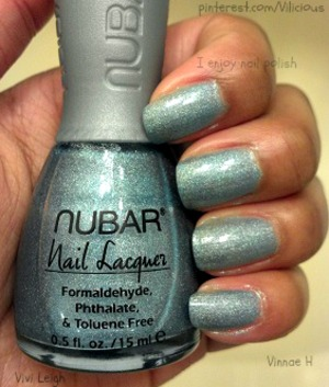 Nubar Absolute is a pale blue with fine holographic glitter.