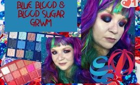 red and blue eyeshadow GRWM