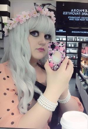 Anime Eyes, grey mermaid wig, and handmade flower crown.