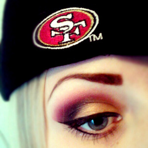 SF 49ers red and gold eyeshadow from the Superbowl We'll get em next time
