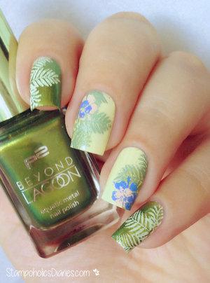 http://stampoholicsdiaries.com/2015/07/06/tropical-nails-with-p2-moyou-and-mundo-de-unas/