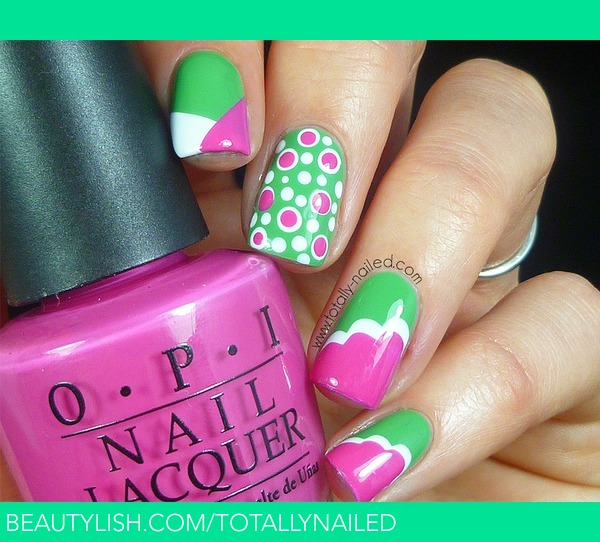 Pink and green nail art danielle rs totallynailed photo pink and green nail art danielle rs totallynailed photo beautylish prinsesfo Gallery