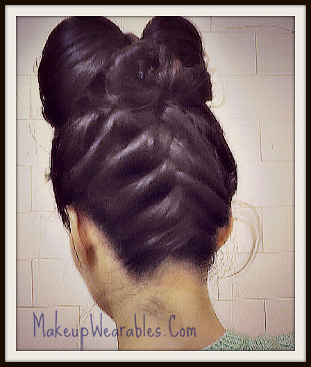 Double Hair Bow : Upside Down French Braid Hairstyle With