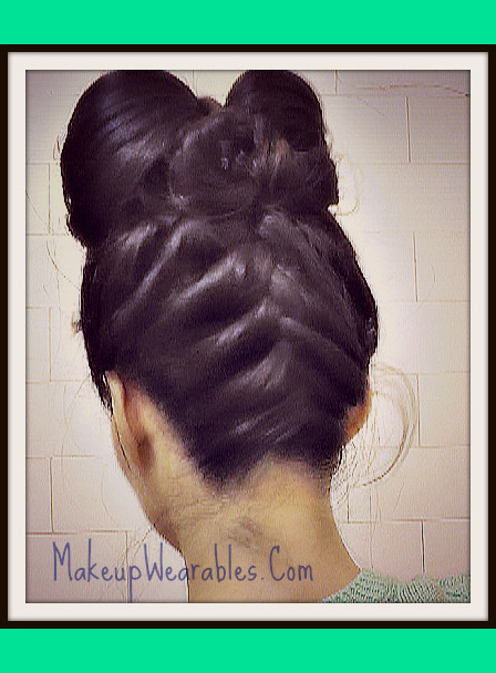 Double Hair Bow Upside Down French Braid Hairstyle With