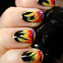 Valborgsmässoafton or Bonfire Night nails by honeymunchkin.com