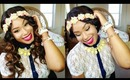 DIY Neon Floral Headband Trend | Loose Waves + Grecian Updo Hair Tutorial