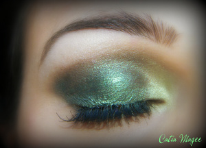 Using Pure Fusion Mineral Eyeshadows in Emerald all over the lid Dragon Scale on the tear duct and inner corner French Cafe on the crease as transition color and White velvet on the brow highlight