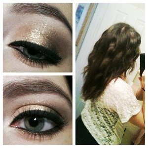 Golden brown smokey eye and crimped hair