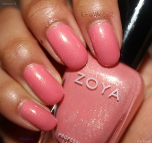 Three coats of Zoya Cassie♥ The gorgeous barbie pink shimmer.