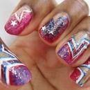 Patriotic Stars Nail Art