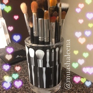 I am loving my pretty brush holder by Sonia Kashuk! I got it from Target for $4.99   Follow me on Instagram for more makeup pics @muashaleena