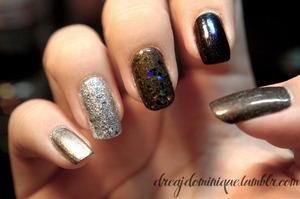 black glitter http://dreajdominique.tumblr.com/post/11232301144/rubi-silver-o-p-i-crown-me-already