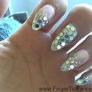 Silver shear pink nails
