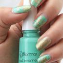 Mint-Gold Saran Wrap Nails