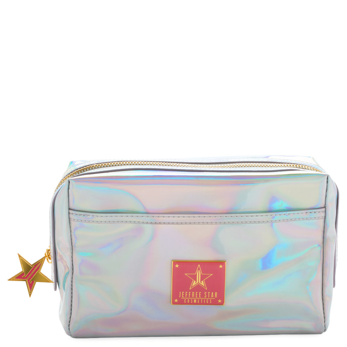 Jeffree Star Cosmetics Makeup Bag Holographic Silver product swatch.