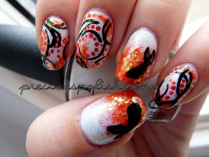 abstract koi fish-inspired nails