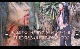 Vampire Halloween Makeup Tutorial + Outfit + DIY Blood