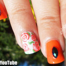Vintage Roses Halloween Themed Nail Art