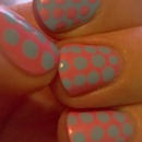 Pastel pink and blue polka dots