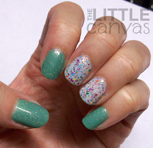Sinful Colors Mint Apple with China Glaze Fairy Dust accented with China Glaze It's a Trap-Eze!