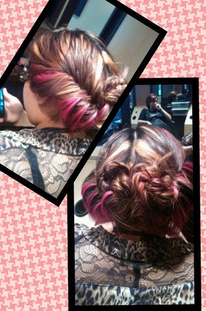 fish tail each side and pinned up