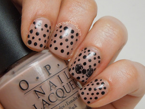 Simple Dotticure with a bow stamped as an accent nail. More photos and info can be found on my blog post: http://www.lacquermesilly.com/2013/05/13/dots-and-a-bow/