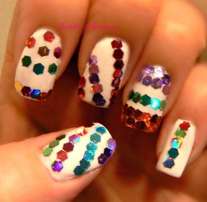 VENIQUE /  Wingtip White  RAINBOW COLOR GLITTER DOTS / I then added glitter dots in Turquoise ,purple, green, magenta, red, orange,  VENIQUE Top Coat