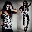 Halloween Skeleton Costume and Makeup