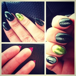Green claws with a green flame accent and of course, pink underneath! <3 By Hannah at monrogue.com