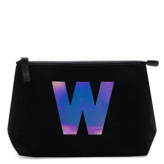 Holographic Foil Initial Makeup Bag Letter W