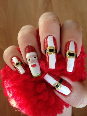 I know christmas is over but here's my Santa nails🎅 hope u liked it..😊