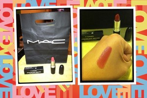 Found a reddish lipstick that goes with my skin tone.  MAC's Amplified Creme Lipstick in Brick-O-LA (AB1)