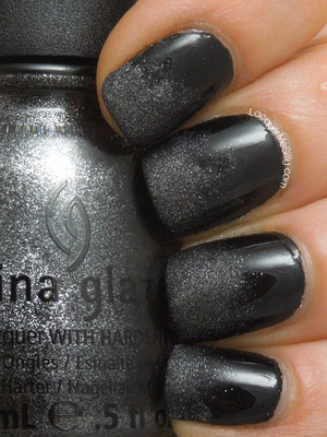 Gradient using a matte polish over a black cream. More info can be found on my blog: http://www.lacquermesilly.com/2013/05/28/stone-cold-gradient/