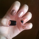 Mix n Match black and salmon mani