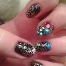 Glitter and rhinestones + stickers