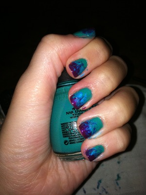 tie-dye ish nails (without cleaning the edges whoopsie haha)