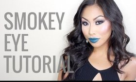 GUNMETAL SMOKEY EYE + TEAL LIPS QUICK MAKEUP TUTORIAL