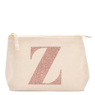 Rose Gold Glitter Initial Makeup Bag Letter Z